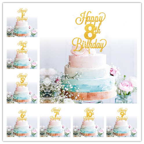 Happy 1st 2nd 3rd4th 10th Baby Kids Birthday Cake Topper Age Shower Party Decorating Glitter Gold In Supplies