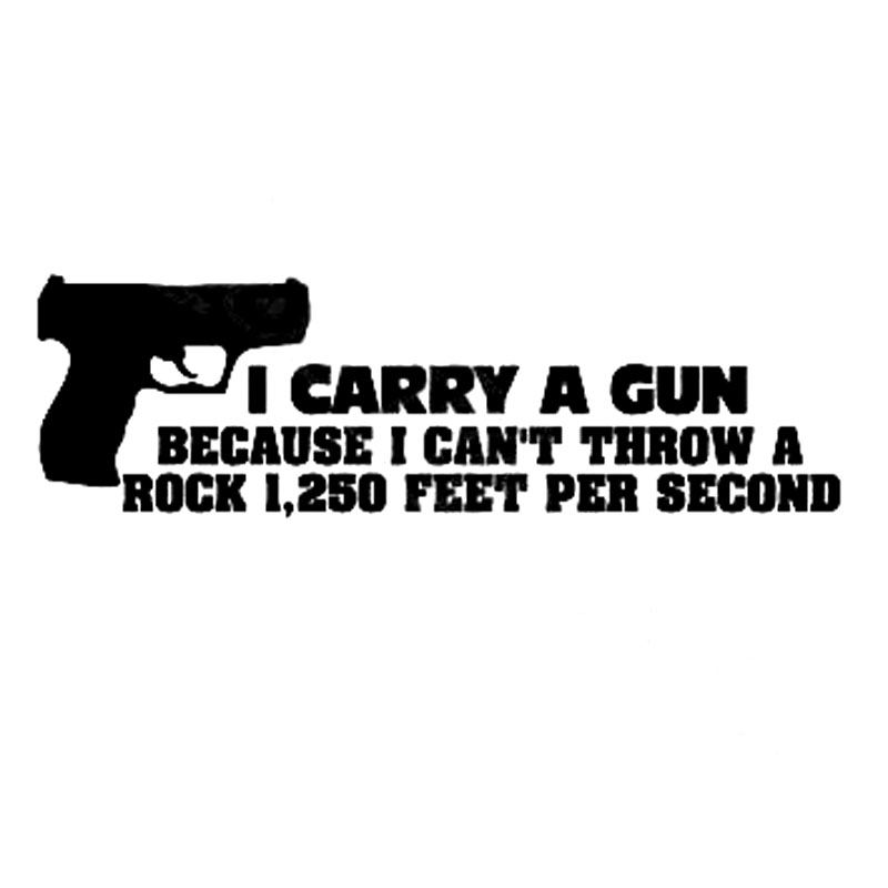 20 3cm6 3cm vinyl decal sticker i carry a gun because nra gun rights car stickers car stylings black sliver c8 0807 in car stickers from automobiles