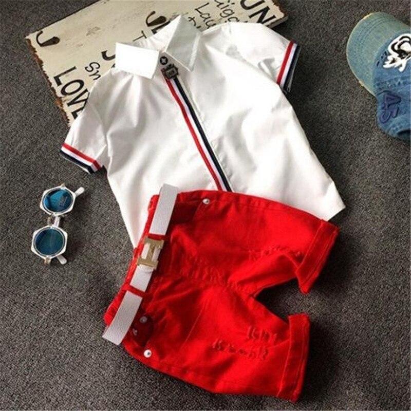 suton Baby Boy Clothes 2018 Summer New Fashion White T-shirt+Red Shorts 2pcs Suits Gentleman Children Clothes Send A White Belt