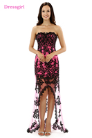 Real Photo Dressgirl 2017 Prom Dresses Mermaid Short Front Long Back Fuchsia Black Lace Prom Gown