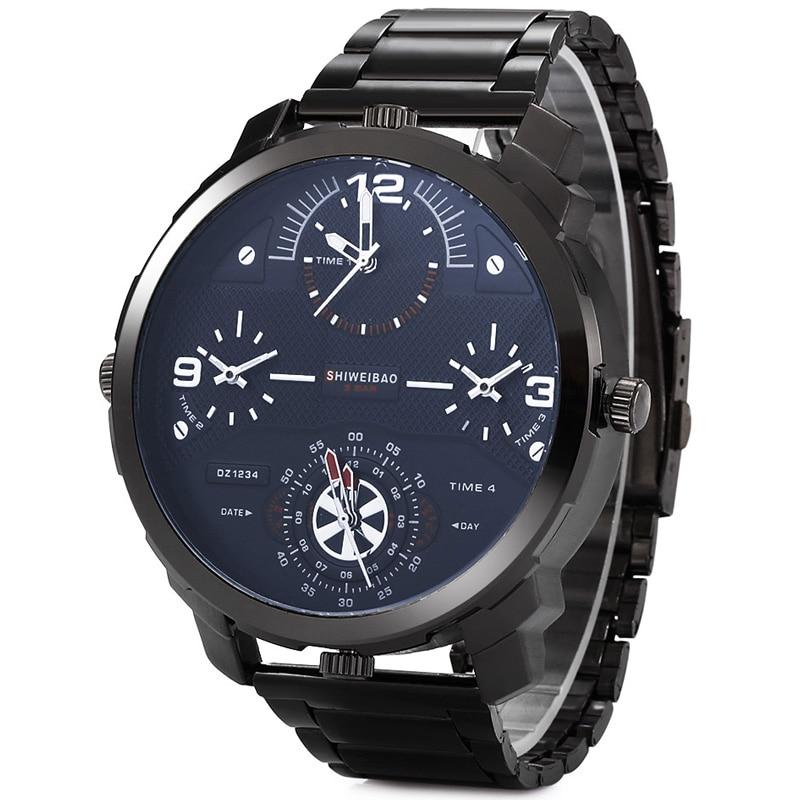 Shiweibao Watches Men Watch Luxury Brand Casual Quartz Wristwatches Full Steel Four Time Zones Military Relogio Masculino Clock