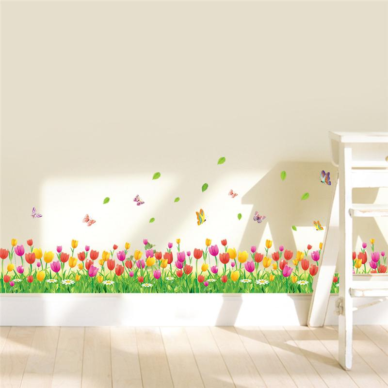 % Colorful Tulip Flowers Fences Baseboard Wall Decals Home Decorative Stickers Adesivos De Paredes Living Bedroom 3d Wall Art