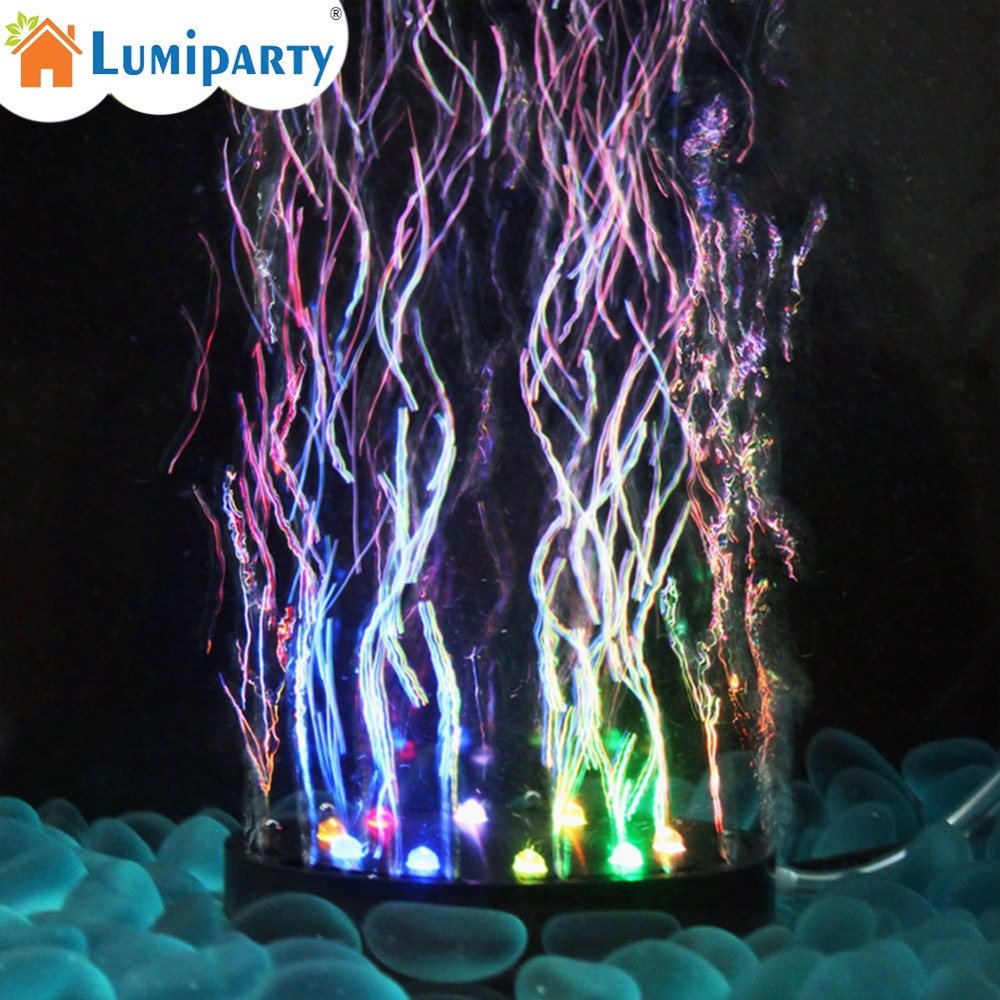 LumiParty Fish Tank Multi Color Changing Underwater Submersible Aquarium Bubble Light 12 LEDs Air Bubble Lamp Round Shape