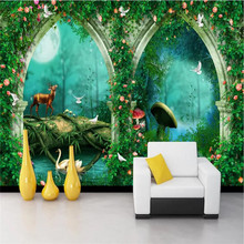 Custom wallpaper super beautiful dream arches fairy tale forest TV sofa background wall painting waterproof material