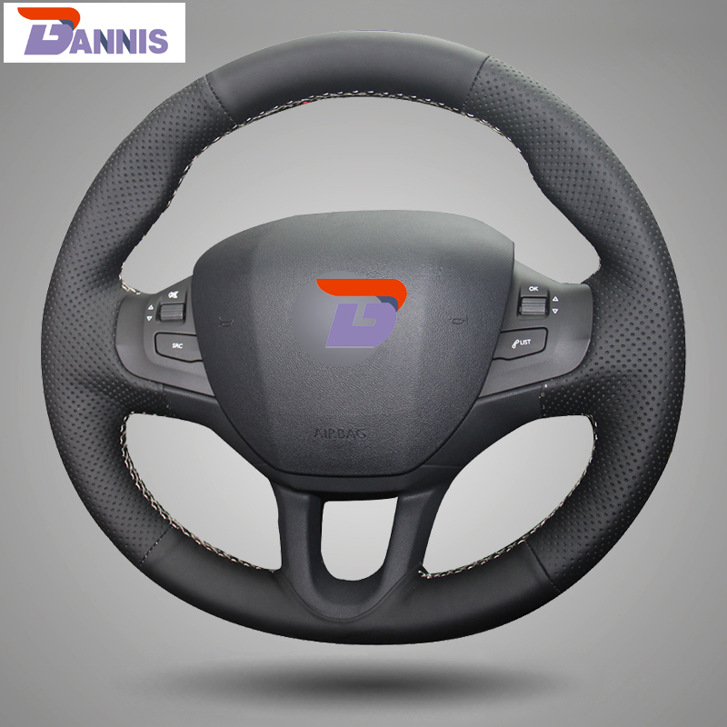 BANNIS Black Artificial Leather DIY Hand-stitched Steering Wheel Cover for Peugeot 208 Peugeot 2008 Car Special