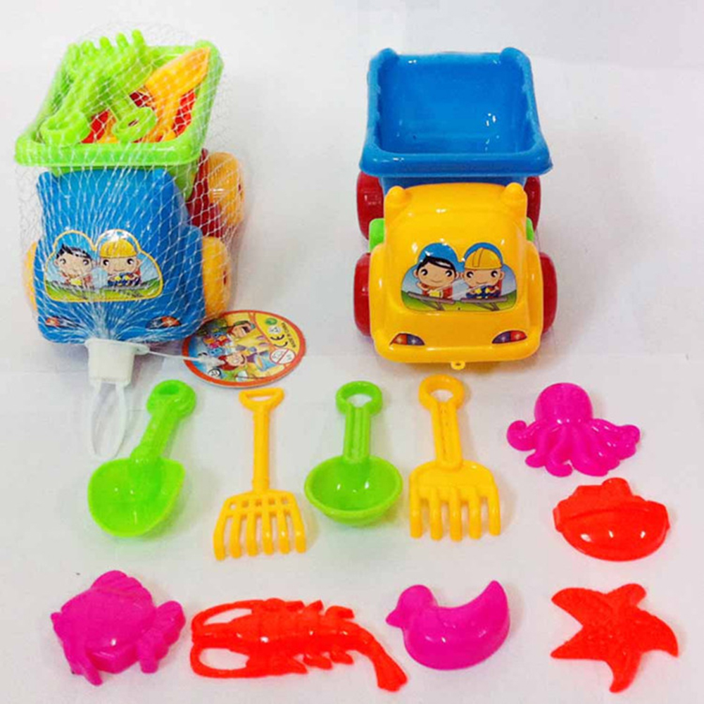 11pcs Set Sand Water Beach Play Toys Set Kids Children Seaside Bucket Shovel Rake Kit Building Sea Horse Molds Funny Tools(China)