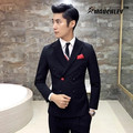 Double Breasted Suit Tuxedo For Mens 2 Piece Suits With Pants Slim Fit Latest Design Chinese Prom Wedding Suits Terno Masculino