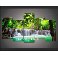Diy Square Painting Green Tropical Waterfall Painting Home Room Decor Diamond Pasted Picture Cross Stitch Free