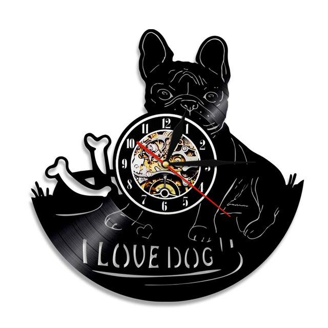 1ebb7575938 1 Peças Eu Amo Dog House Pet Pug Disco de Vinil Relógio de Parede Cão  Buldogue