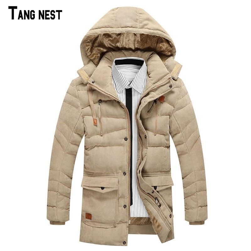 TANGNEST Men's Casual Parkas 2017 New Fashion Male Thicken Fleece Solid Parka Men Winter Warm Hooded Slim Coats MWM1495