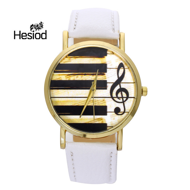 2017 Watch Women Vintage PU Leather Casual Dress Gold Piano Music Watches Reloje