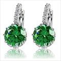 Высокое качество белый позолоченные CZ бриллиантовое циркон серьги для женщин мода свадебные украшения серьги 8 цветов бесплатная доставка