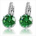 Alta calidad chapado en oro blanco diamante de la CZ circón pendientes de gota de mujer moda joyería de la boda 8 colores liberan el envío