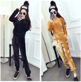 Europe and American Brand Quality Velvet Track Suits Elastic Waist Slim Jacket Top Elastic Cuff Sporty Trousers Women 2pcs Set