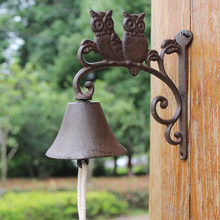 European Double Owl On Branch Design Home Garden Decor Cast Iron Wall Welcome Bell(China)