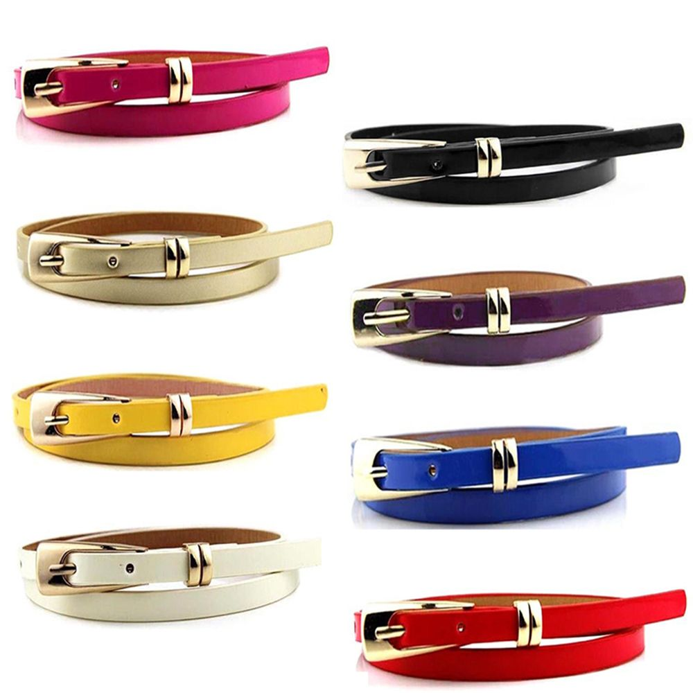 Fashion Sweetness Colorful Women Waist Belt Faux Leather Belts Candy Color Thin Skinny Waistband Adjustable Belt