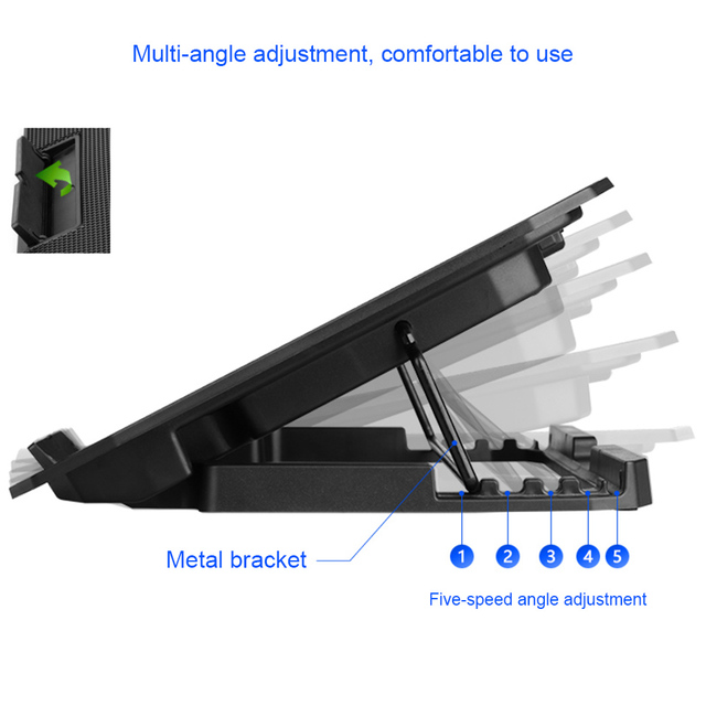 """SeenDa Laptop Stand Holder 5 levers Adjustable Height Notebook Cooler Stand with 2 USB Fans for Macbook Laptop 12""""-17"""" Lapdesk"""