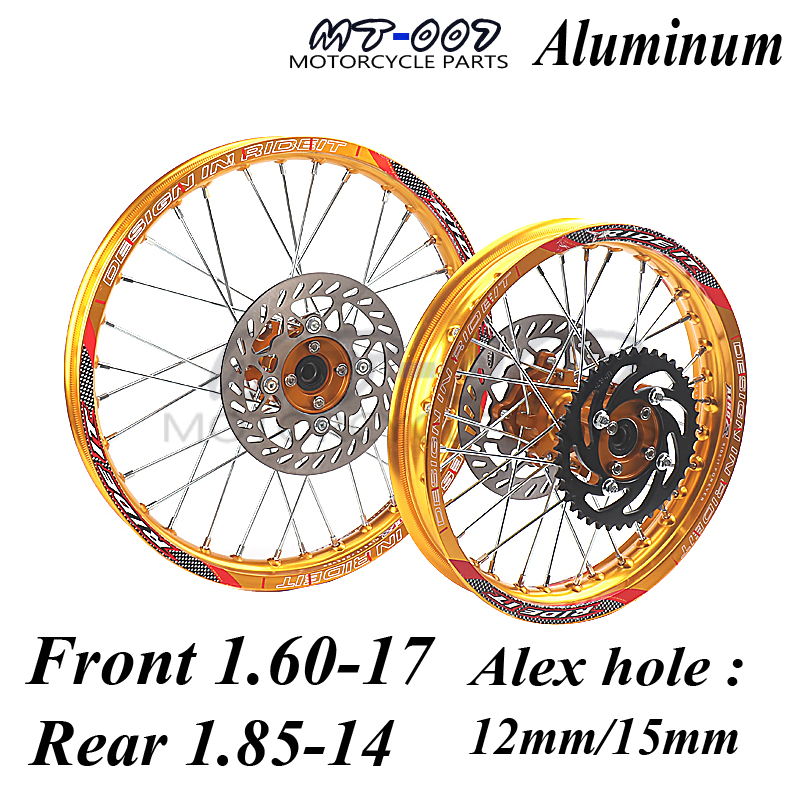 GOLD Front 1.60-17 Rear 1.85-14 inch Alloy Wheel Rim with CNC Hub brake disc For KAYO HR-160cc TY150CC Dirt Pit bike 14/17 inch 14 inch front wheel rotating disc teeth open file 100mm axis length 140mm us tsui kole bike rim electric bike wheel bzo004