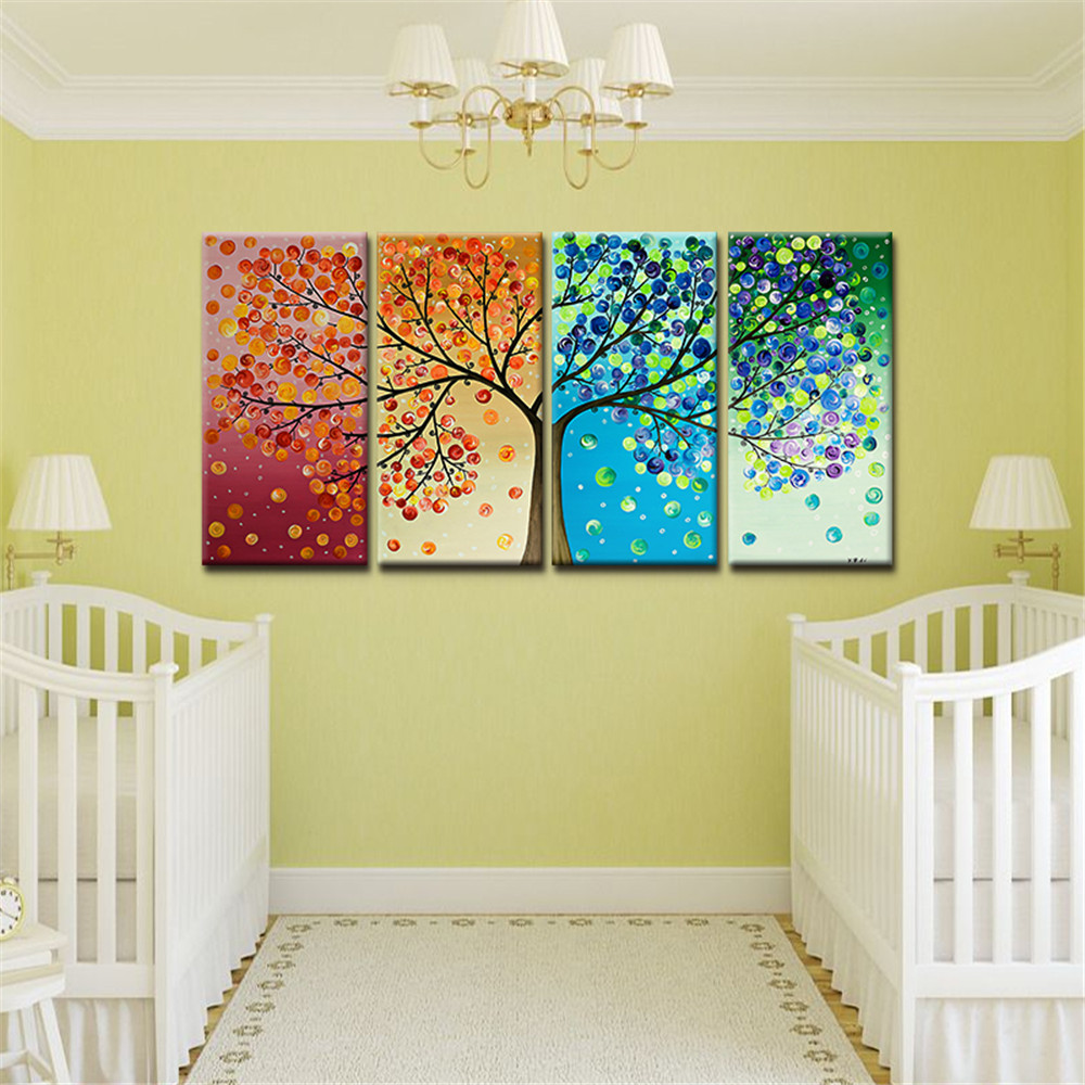 Huge Wall Art Home Decor On Canvas Colorful Tree Frameless Oil ...
