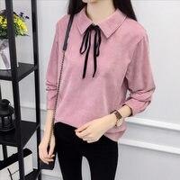 Autumn Long Sleeve Women Shirt Preppy Style Bow Woman Shirt Corduroy Plus Thick Solid Color Women