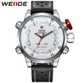 WEIDE Casual Sport Watch Men Dual Time Zone Digital Quartz Genuine Leather Waterproof Mens Watches Top Brand Luxury Wristwatch