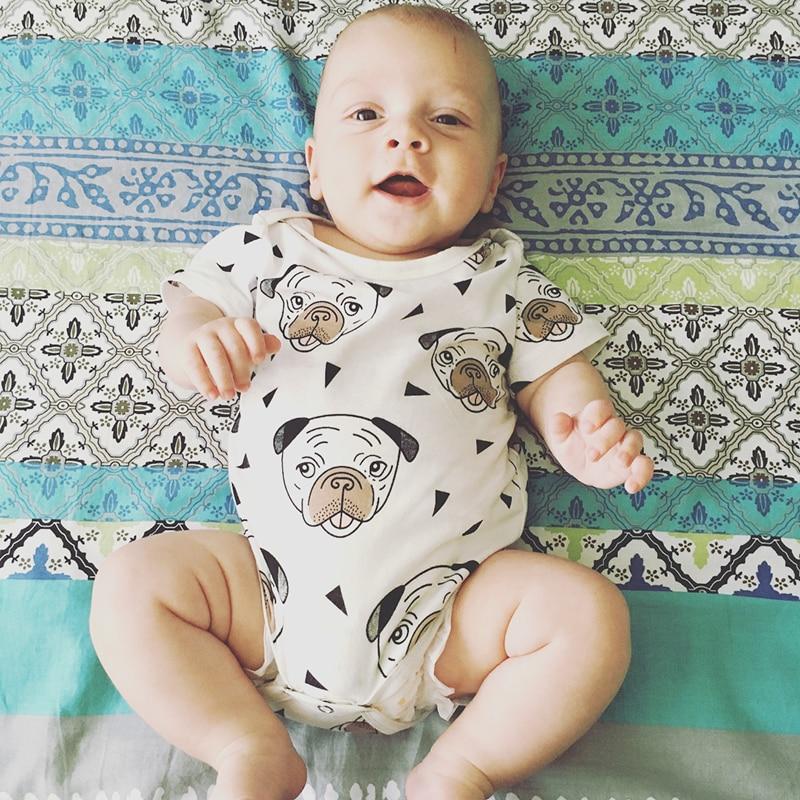 Pug Puppy Dog Print Bodysuit Baby Boys Girls Jumpsuit Baby Clothing Vestidos 2018 Summer Autumn Bobo Choses Tiny Cottons