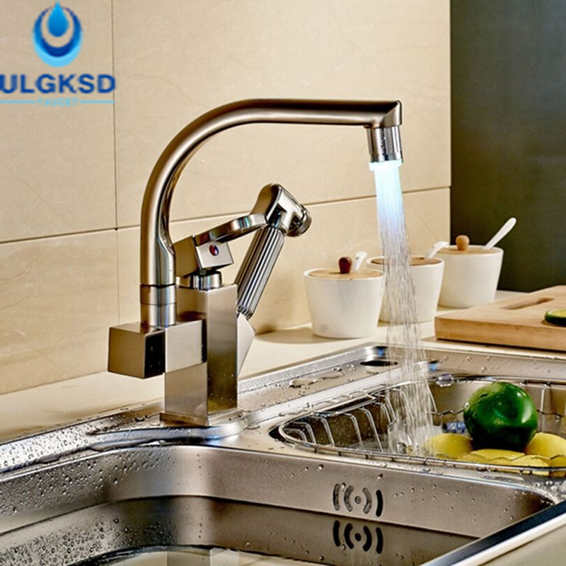 Ulgksd Pull Out LED Kitchen Faucet Single Handle Single Hole Brushed Nickle Finish Deck Mounted Mixer Taps popular led brushe nickle kitchen faucet one hole single handle deck mounted mixer faucet
