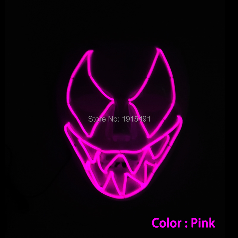 New Style Fashionable Flashing EL Wire Mask Novelty Lighting Christmas Gift Neon LED Mask With DC3V Flashing/Sound Active Driver