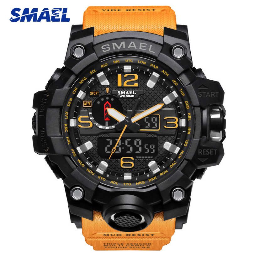 SMAEL 1545 Mens Sports Watches Top Brand Luxury Chronograph Quartz Watch Men Waterproof Military Wrist Watch Relogio Masculino