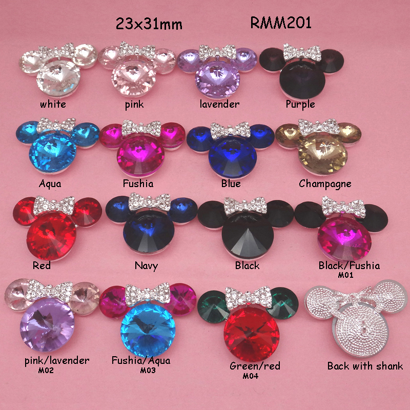 23x31mm 16colors Minnie Mouse with bow Bling rhinestone alloy button with shank for hair bow center