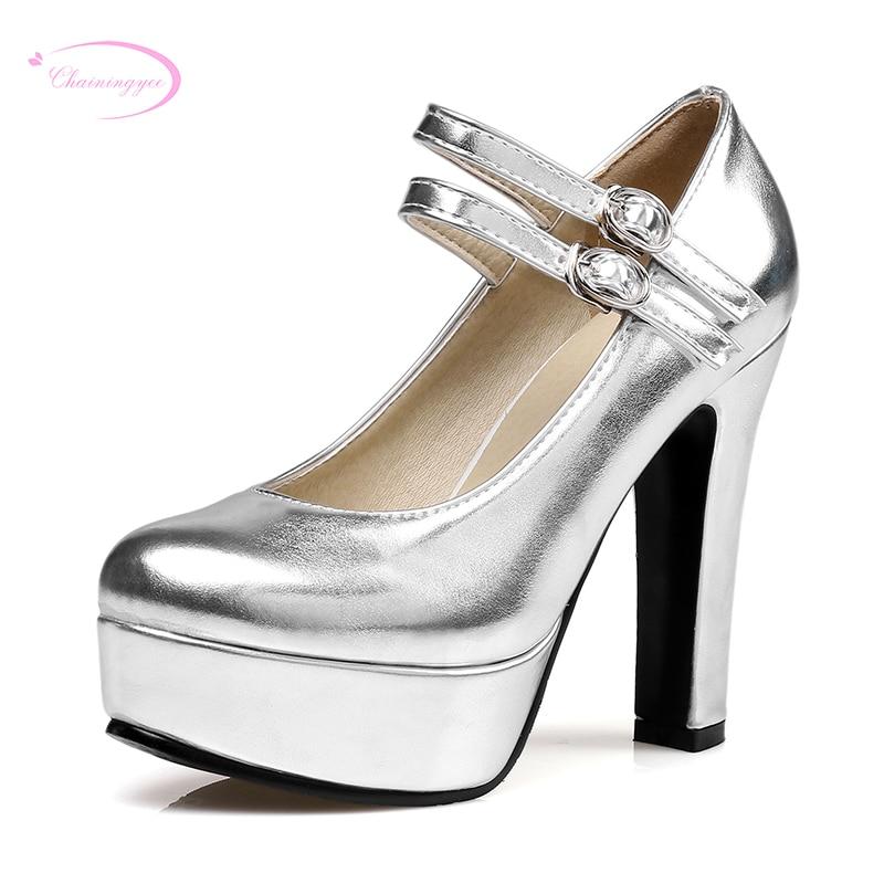 Chainingyee sexy party round toe pumps fashion belt buckle glitter platform  gold silver black high thick heel women s shoes 5b440db3ba97