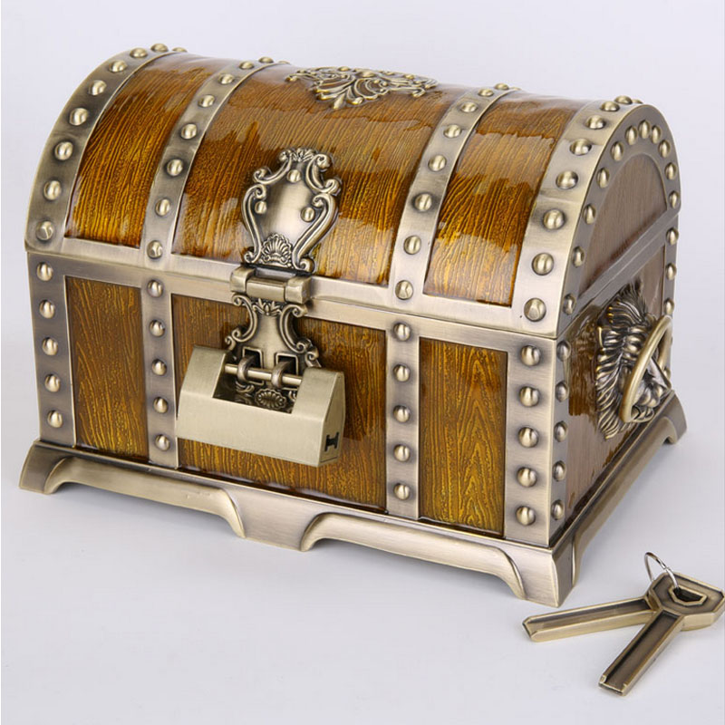 Europe Treasure Chest With Lock Key Girl Gift Vintage Jewelry Boxes Carrying Case Box For Women Necklace Rings Bracelets In Storage Bins