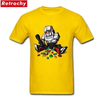 2017 New Megablocks Tees Shirt Men Streetwear Short Sleeved Crew Neck Robot T Shirts For Male