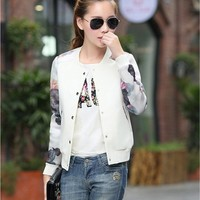 2017 Flower Print Plus big Size Baseball short Jacket Women Round Collar Button Thin Bomber Jackets Long Sleeves girl Coat basic 1