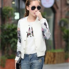Long Sleeves Flower Printed Baseball Short Bomber Jacket for Women with Round Collar