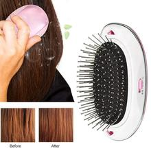 Portable Electric Ionic Hairbrush Mini Hair Brush Comb Massager Anti-Static Tangled Straightening