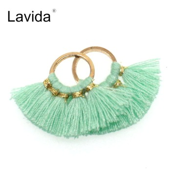 LAVIDA 2pc Fashion Charms Mini Cotton Tassels for Jewelry Making with Gold Ring Clasp DIY Earring Necklace Accessories image