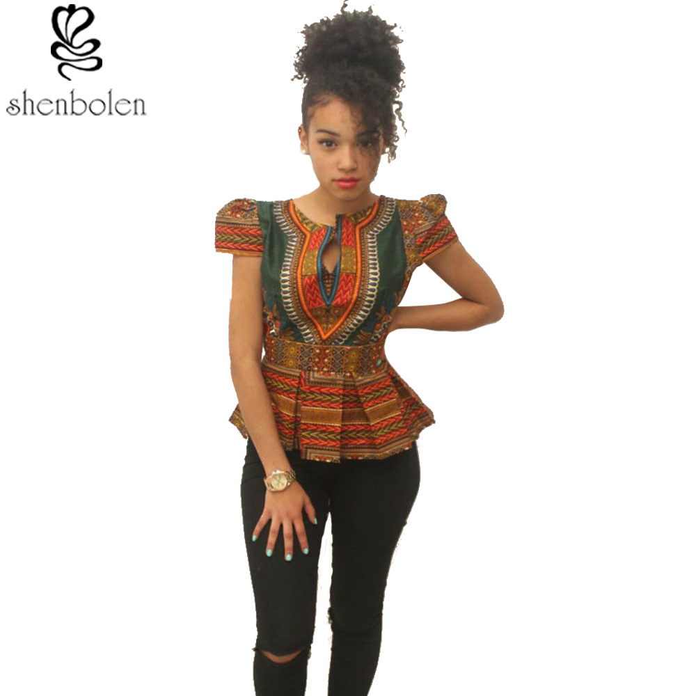 2017 summer fashion ankara African clothing short sleeve t shirt for women dashiki wax batik printing