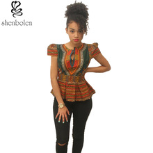 2017 summer fashion ankara African clothing short sleeve t shirt for women dashiki wax batik printing pure cotton tops plus size