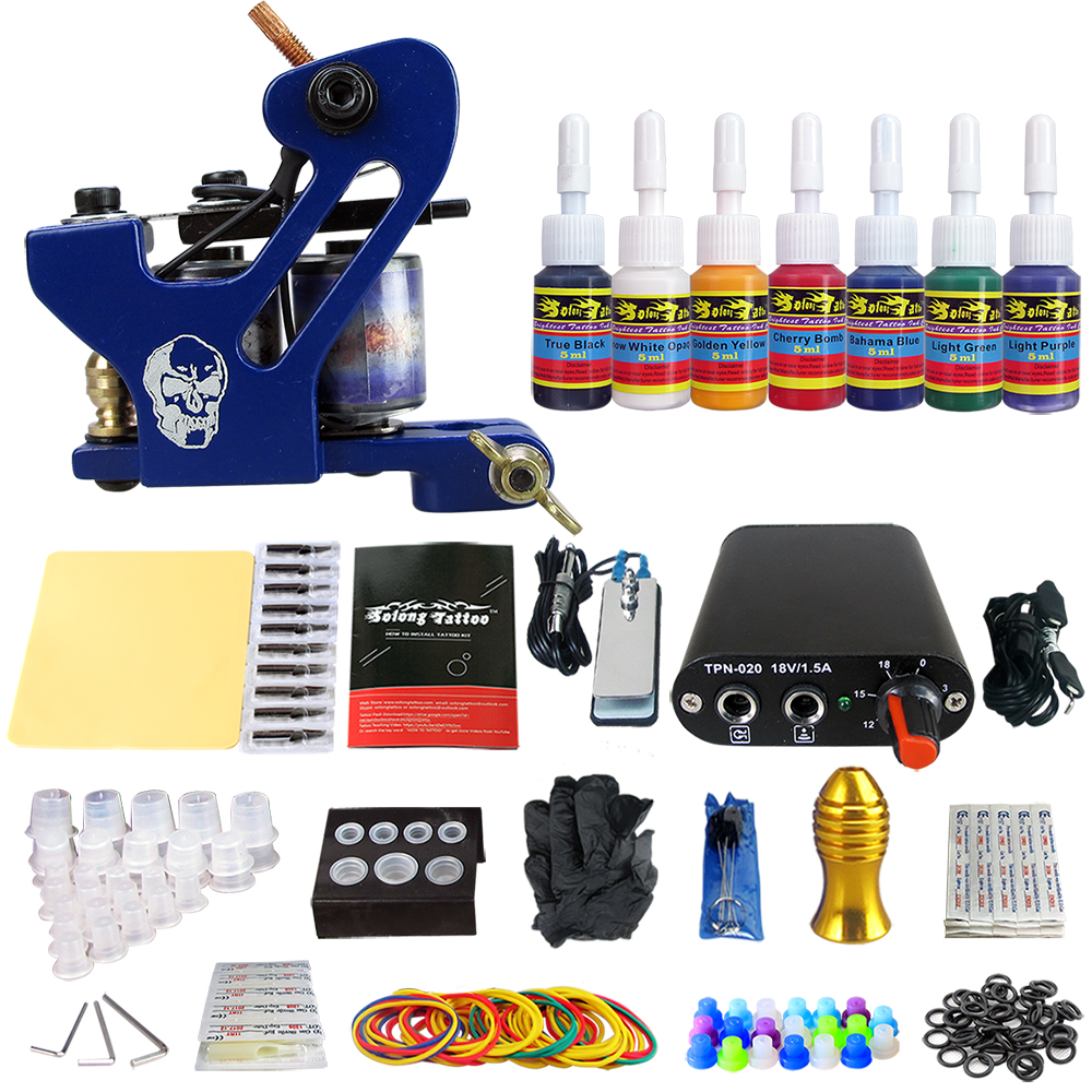 Hybrid Complete Tattoo Coil Machine Kit For Liner Shader Power Supply Foot Pedal Needles Grip Tips Tattoo Body&Art TK105-68Hybrid Complete Tattoo Coil Machine Kit For Liner Shader Power Supply Foot Pedal Needles Grip Tips Tattoo Body&Art TK105-68