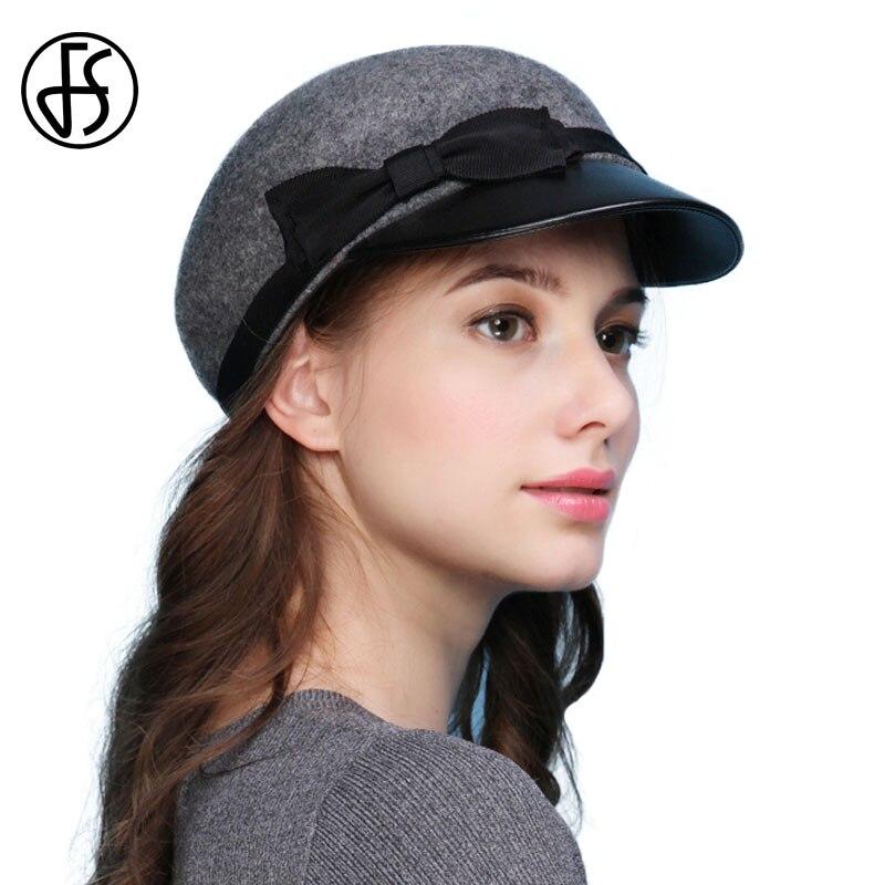FS hiver 100% laine feutre militaire chapeaux pour femmes qualité Pu bord Vintage visière Boina plat casquettes Casquette os capitaine chapeaux