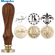 Mogoko 1x Wax Seal Stamp Wedding I Love You Flower Retro Wood Classic Vintage Decorative Invitation Antique Sealing Stamp square love heart cross arrow custom vintage picture wedding invitation wax seal sealing stamp handle box set kit