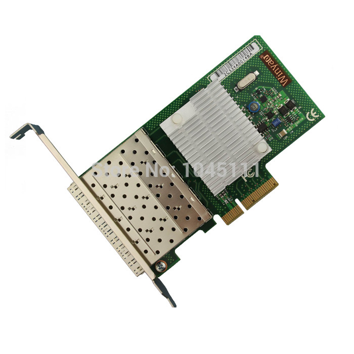 Winyao WY580F4-SFP Quad Port SFP Gigabit Ethernet PCI-E Server Network Adapter Card NIC Intel82580EB Chipset winyao usb1000f usb 3 0 gigabit fiber ethernet network adapter sfp nic 1000mbps sx lx transceiver realtek rtl8153 vlan