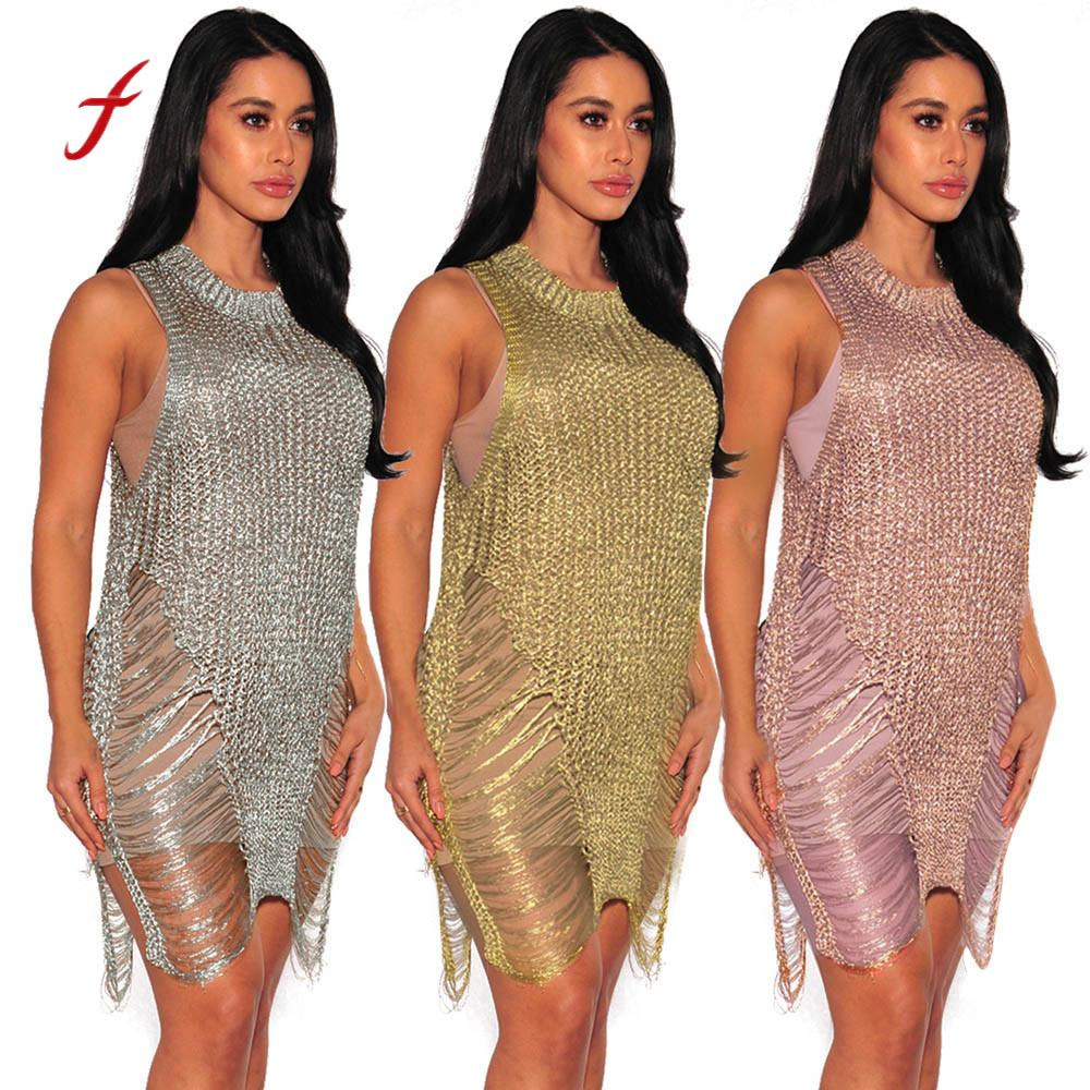 838586c8258 dress women 2019 new arrival solid Sexy Bodycon Gauze Cover Up Hollow Out  party Dress Slim