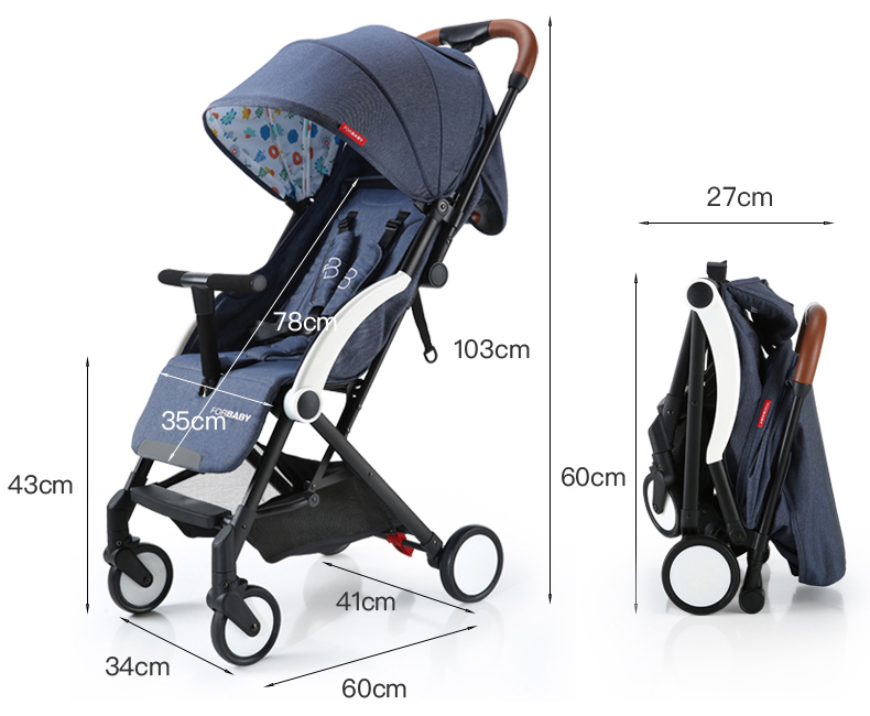 Foldable Lightweight Travel Pram – Navy blue