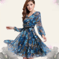 Women Casual Long Sleeves Chiffon V-Neck Printed Elegant Dress Blue New 640