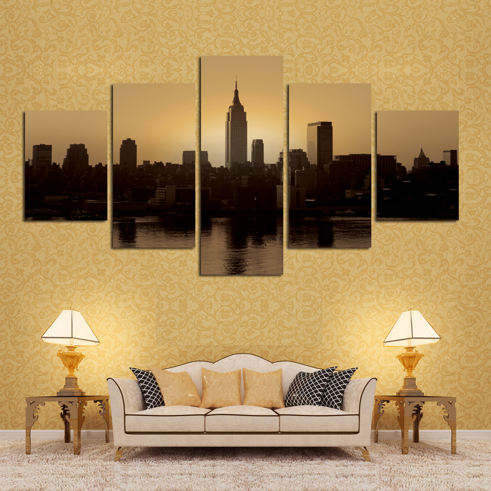 New Modern Black White City Scenery Landscape Wall Painting Canvas ...