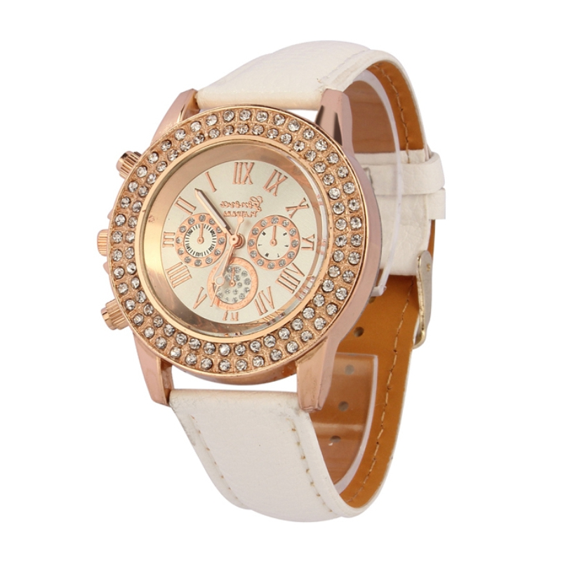 Excellent Quality 2016 New Womens Golden Rhinestone Geneva Roman Numerals Dial Analog Quartz Wrist Watches Relojes Mujer