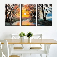 Home Decorations For Bedroom Landscape Oil Painting Canvas Sunrise Sunset Handpainted Wall Art 3 Panels Artwork
