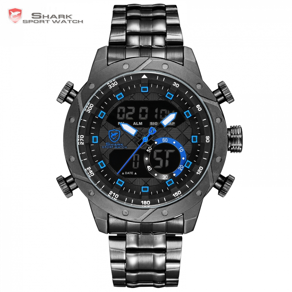 New Snaggletooth SHARK relogio masculino de luxo Chronograph Hiking Man Watch Digital LCD Alarm Vintage Clock Stopwatches/SH594 snaggletooth shark sport watch lcd auto